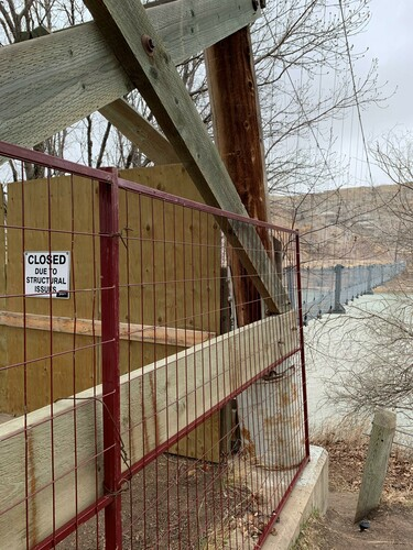 Access to the Startmine Suspension Bridge will remain closed to the public